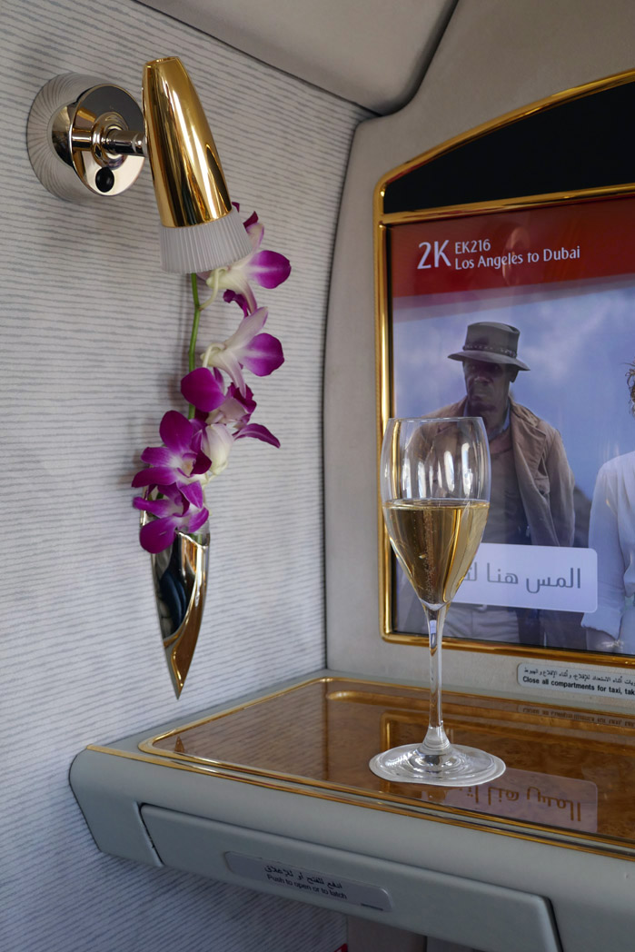 Emirates First Class Pre-Departure Beverage
