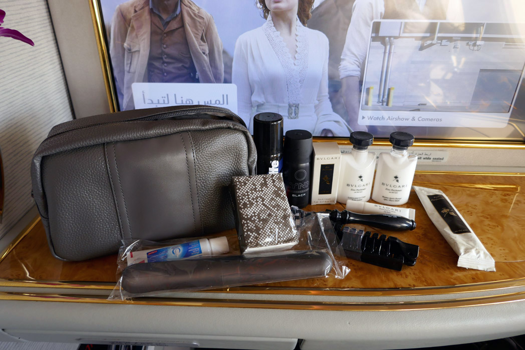 Emirates First Class Amenity Kit Contents