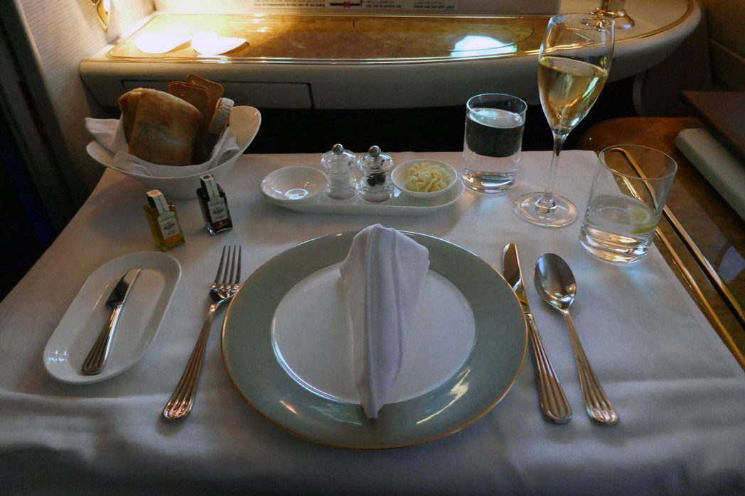 Emirates First Class Table Setup